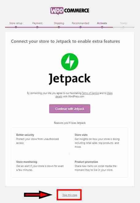 WooCommerce Setup Wizard - Jetpack Installation